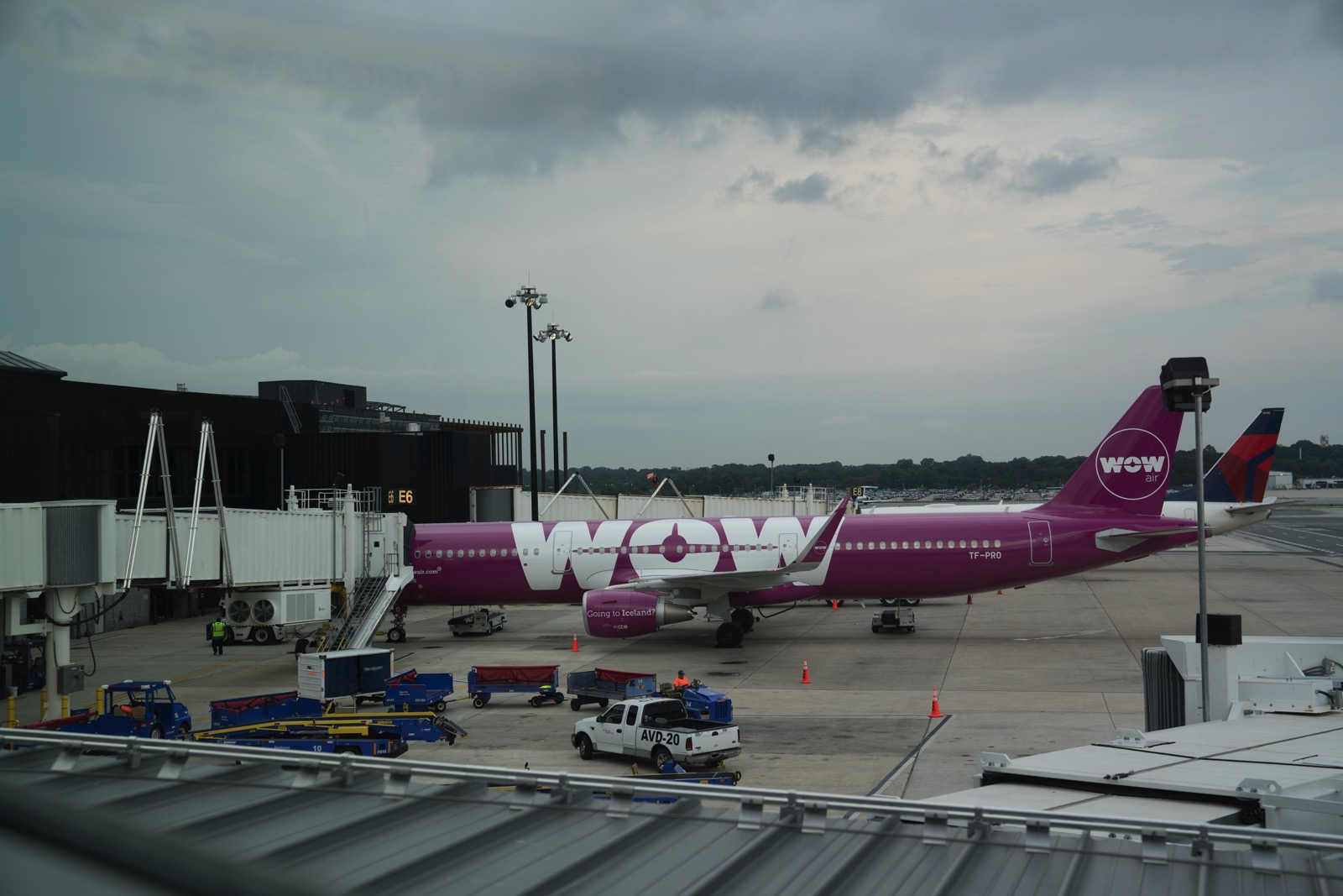 We entrusted our lives to this Barney-colored jet. (Dulles, Virginia, United States.)