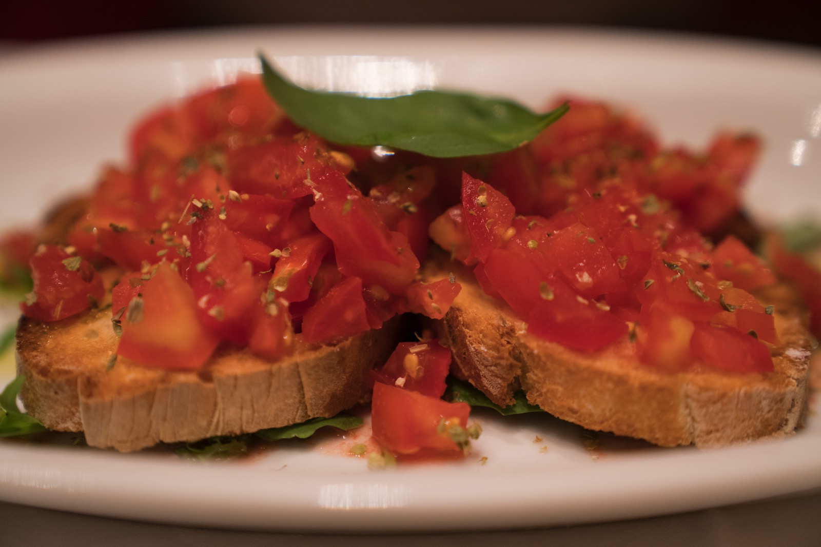 Bruschetta at our first lunch on arrival.   (Rome, Lazio, Italy.)