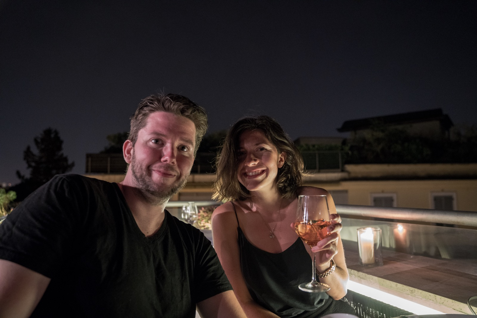Drinks with Nina on the roof of our hotel, the Sofitel Villa Borghese.   (Rome, Lazio, Italy.)