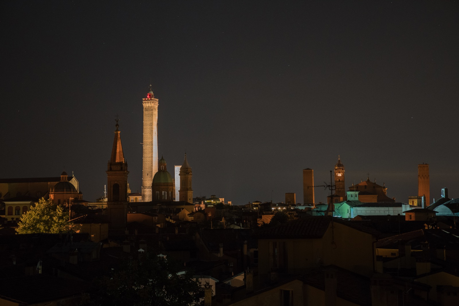 The night view from our tower.   (Bologna, Emilia-Romagna, Italy.)