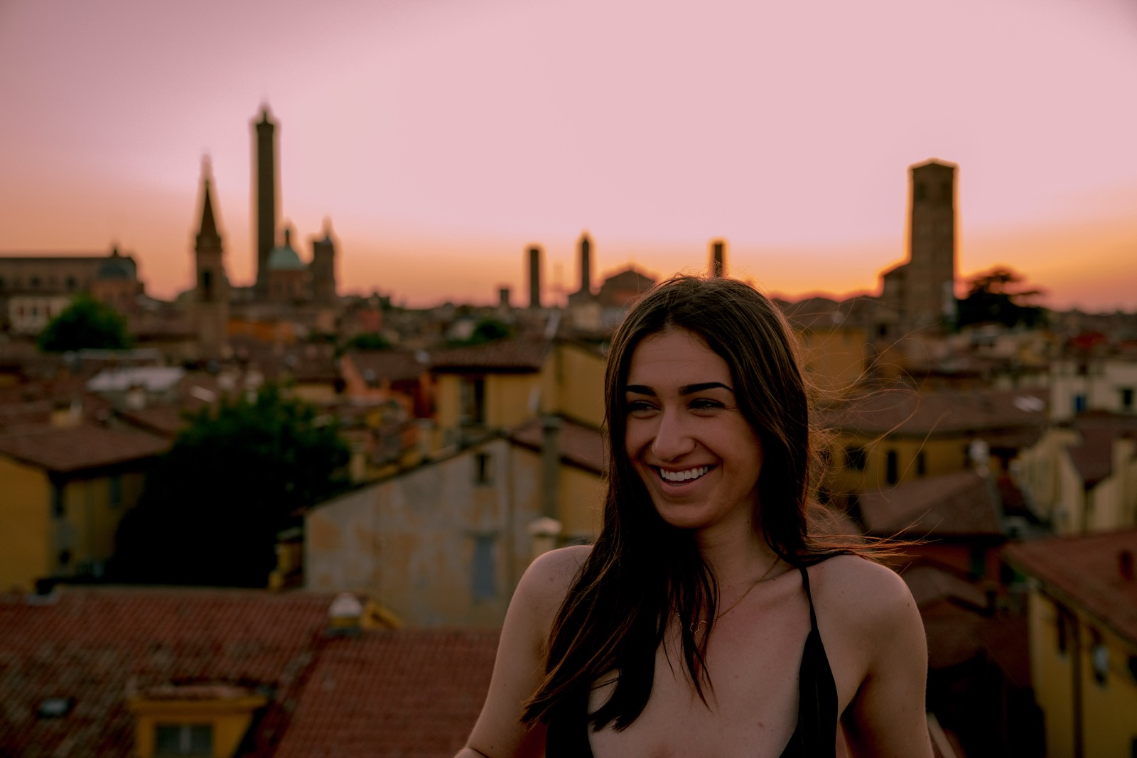 Sarah on the roof of our tower.   (Bologna, Emilia-Romagna, Italy.)