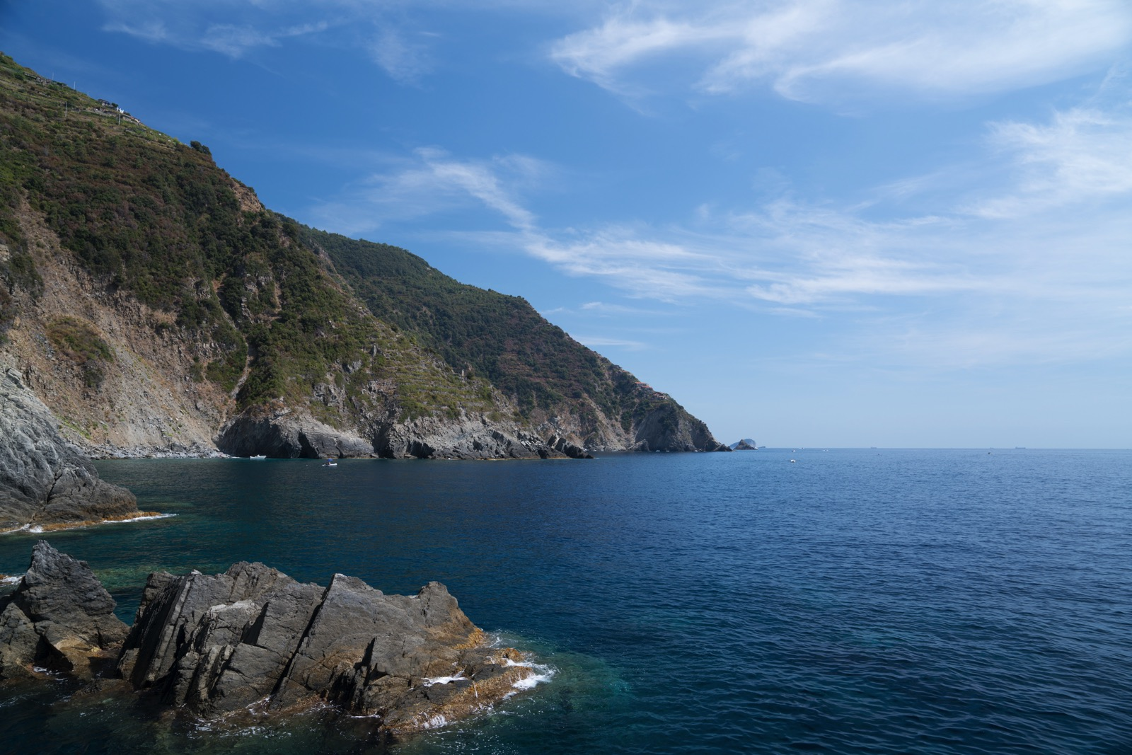 The view from the rocks where we took a break from kayaking, somewhere south of Riomaggiore in the Ligurian Sea.   (Liguria, Italy.)