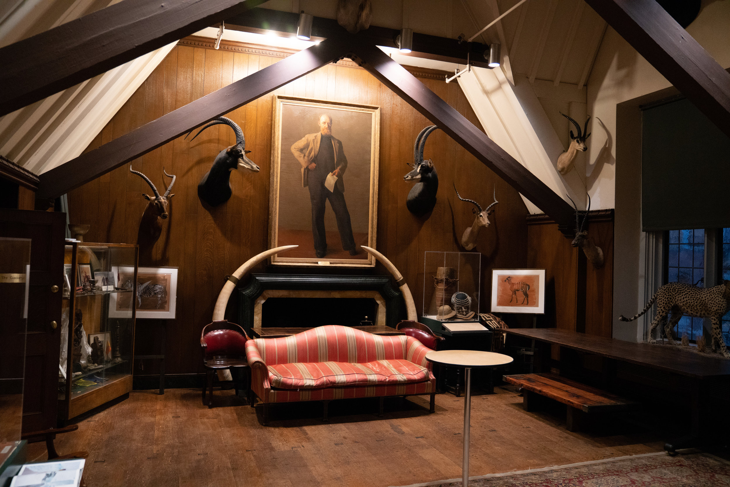 A view of the trophy room, with painting of  Danish arctic explorer Peter Freuchen .