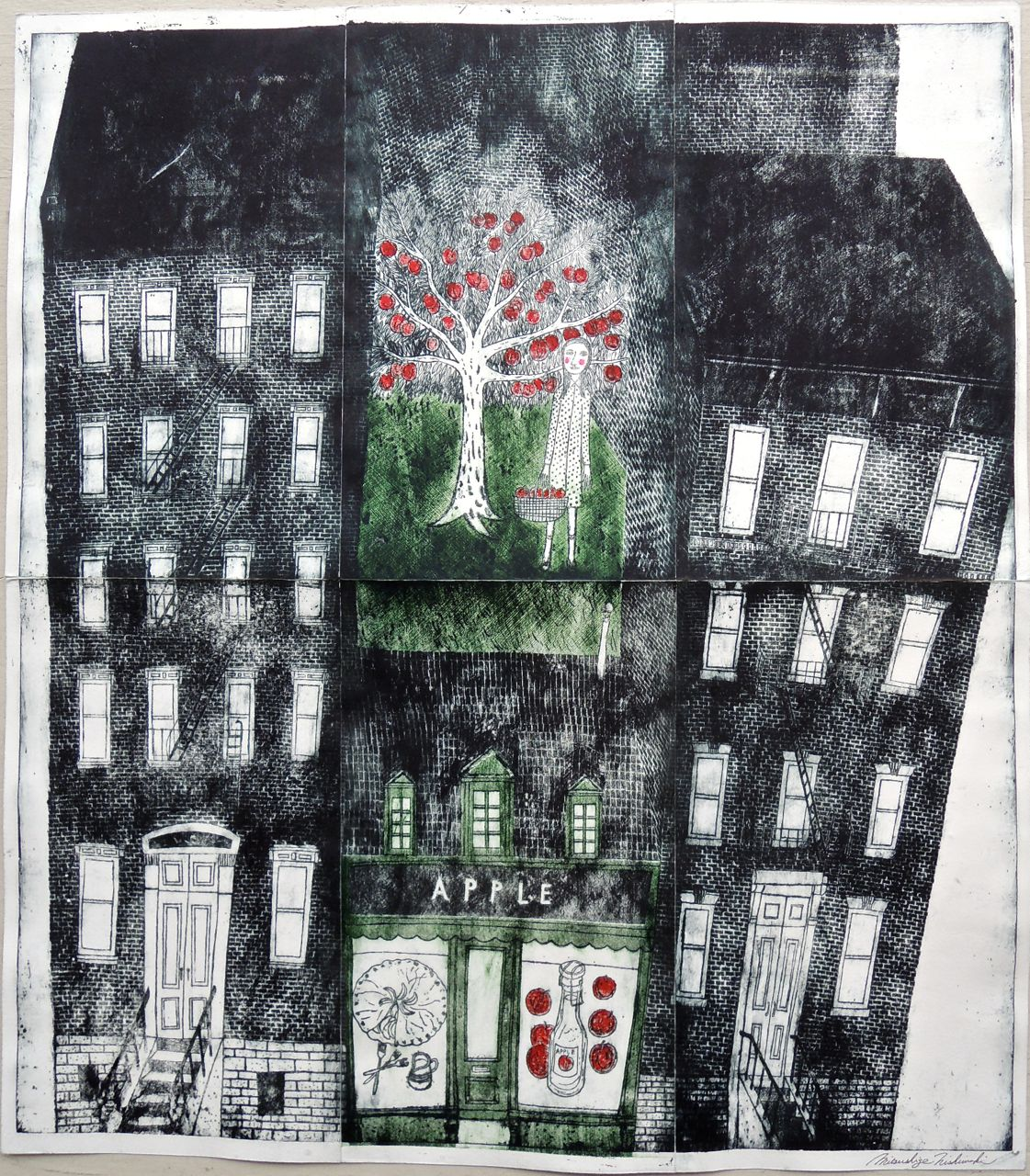 "Artist: Mitsushige Nishiwaki  Name: Apple  Size: 33 1/2"" x 29 3/4""  Price:  Inquire   Method: etching  Condition: signed print"