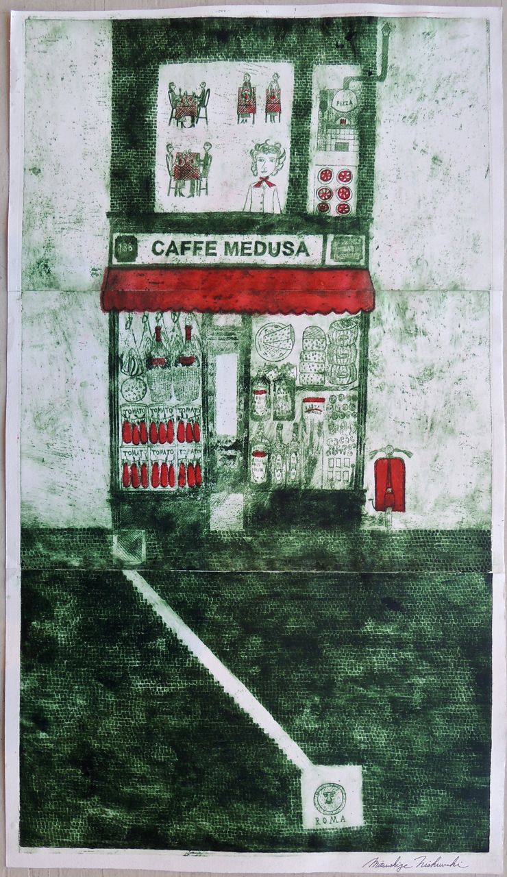 "Artist: Mitsushige Nishiwaki  Name: Cafe Medusa  Size: 30""x17.25""  Price:  Inquire   Method: etching  Condition: signed print"