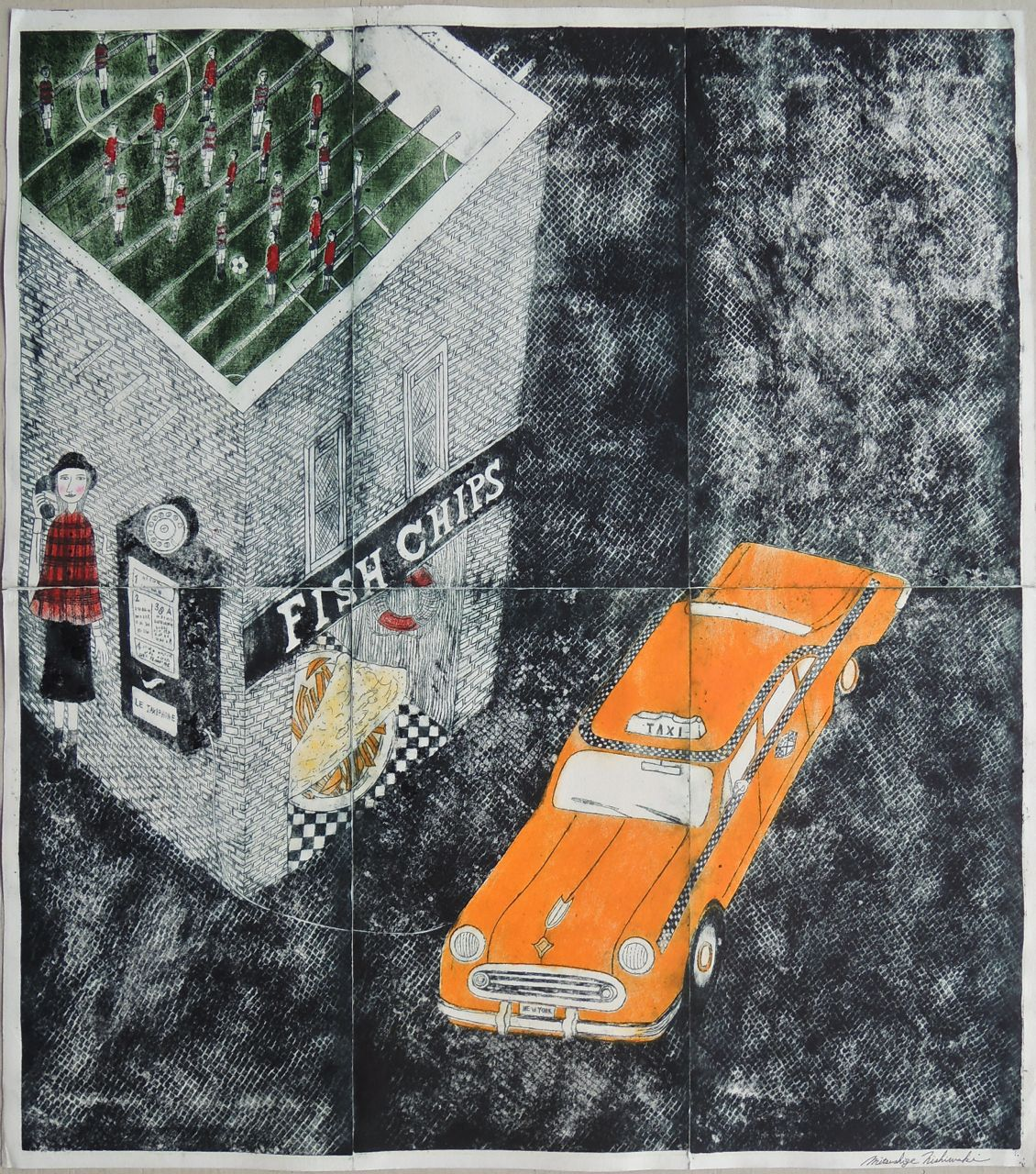"Artist: Mitsushige Nishiwaki  Name: Fish & Chips  Size: 33.5""x30""  Price:  Inquire   Method: etching  Condition: signed print"