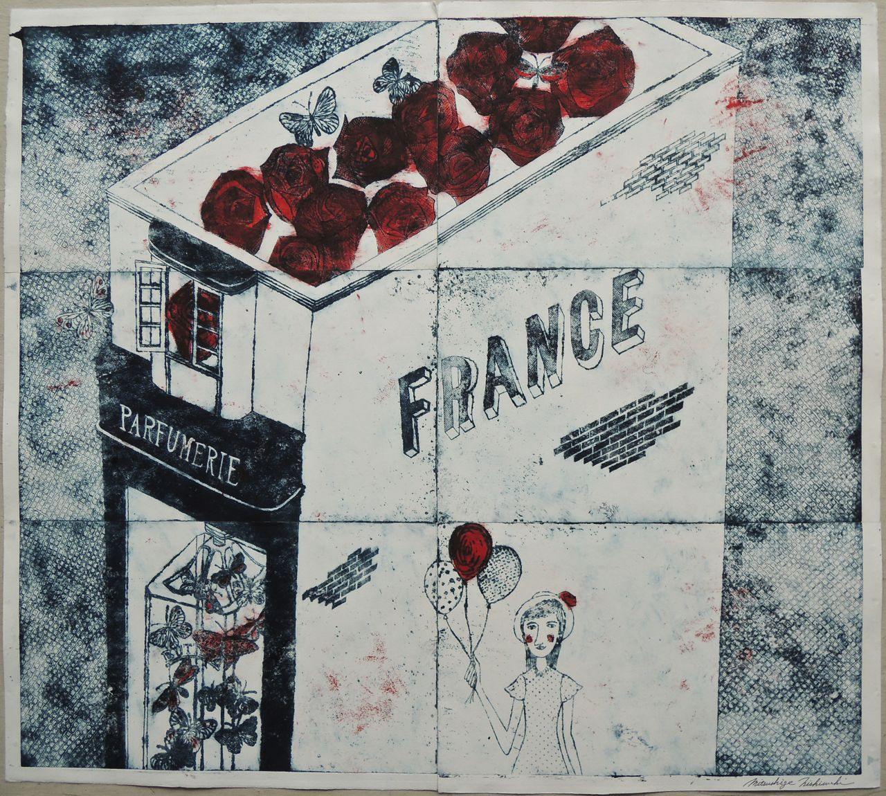 "Artist: Mitsushige Nishiwaki  Name: FRANCE Parfumerie  Size: 33.75""x30""  Price:  Inquire   Method: etching  Condition: signed print"
