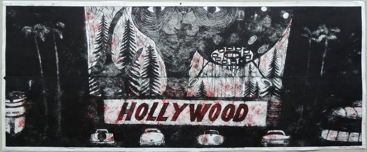 "Artist: Mitsushige Nishiwaki  Name: Hollywood  Size: 50""x20""  Price:  Inquire   Method: etching  Condition: signed print"
