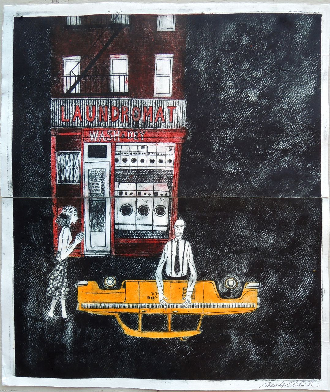 "Artist: Mitsushige Nishiwaki  Name: Laundromat Taxi Piano Player  Size: 20.25""x17.5""  Price:  Inquire   Method: etching  Condition: signed print"