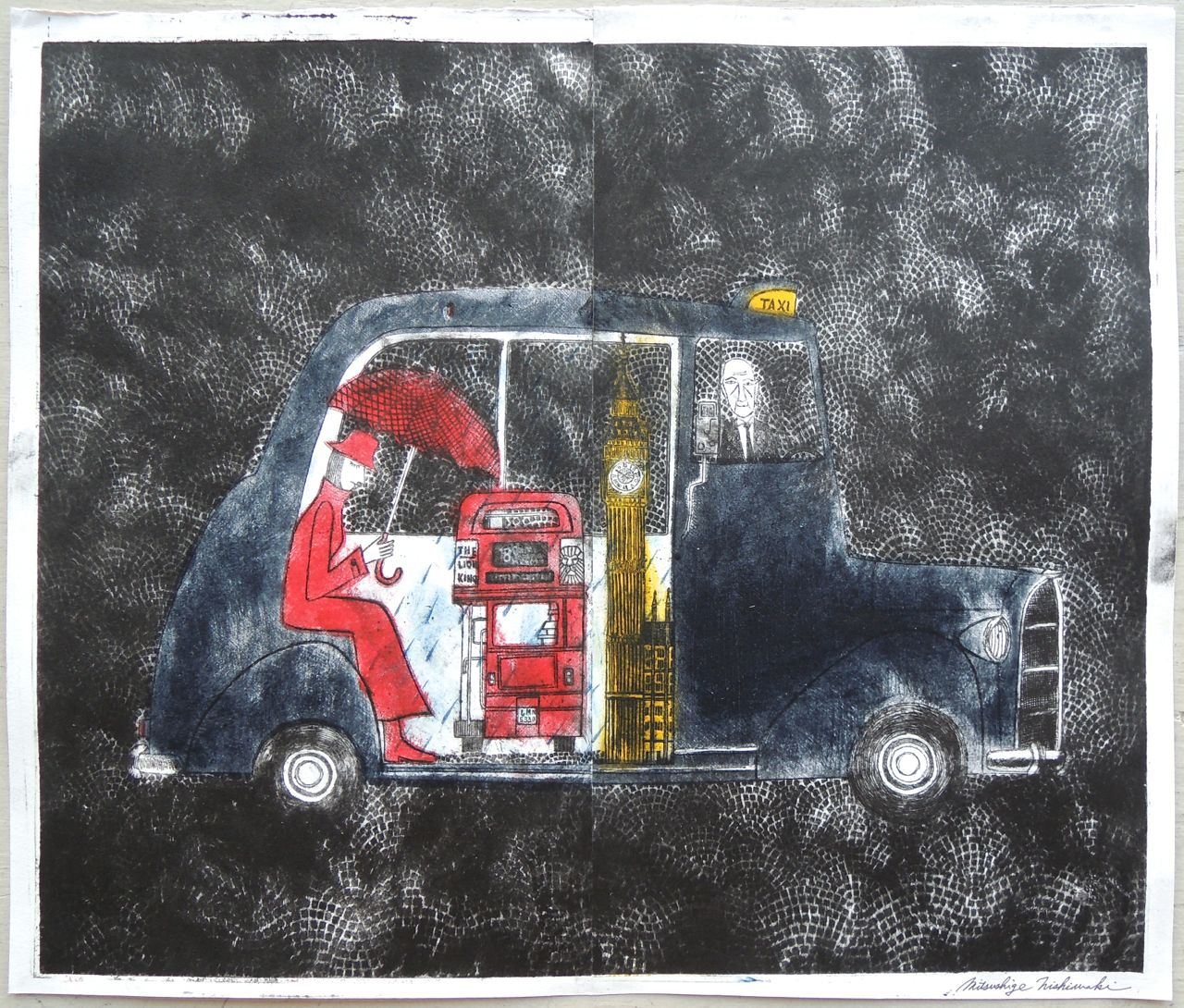 "Artist: Mitsushige Nishiwaki  Name: London Taxi  Size: 20.5""x17.25""  Price:  Inquire   Method: etching  Condition: signed print"