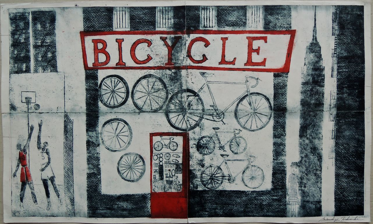 "Artist: Mitsushige Nishiwaki  Name: New York Bicycle Street  Size: 34""x20.25""  Price:  Inquire   Method: etching  Condition: signed print"