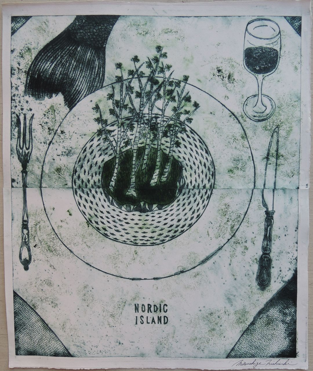 "Artist: Mitsushige Nishiwaki  Name: Nordic Island Table Setting  Size: 21""x17.25""  Price:  Inquire   Method: etching  Condition: signed print"