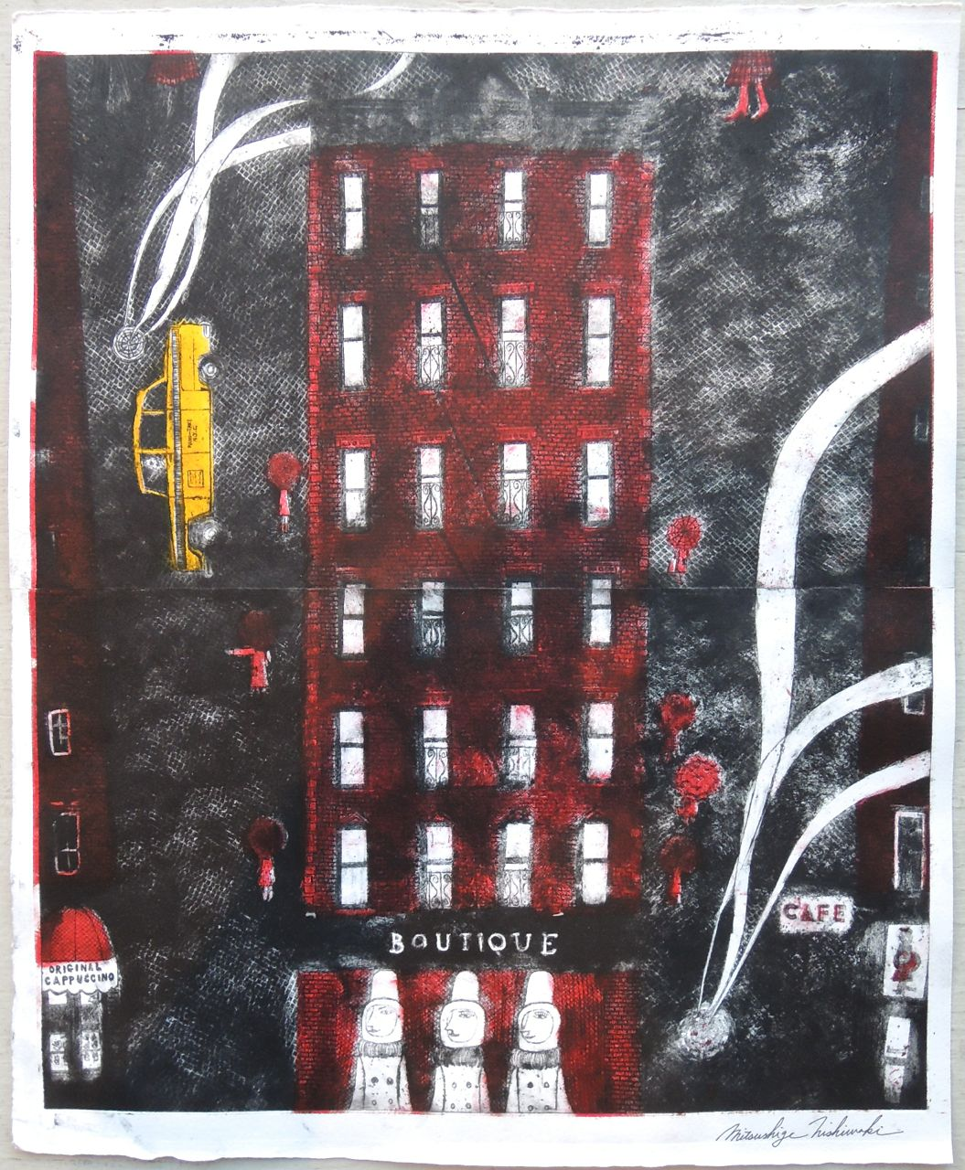 "Artist: Mitsushige Nishiwaki  Name: New York Taxi 3  Size: 3.21""x17.5""  Price:  Inquire   Method: etching  Condition: signed print"