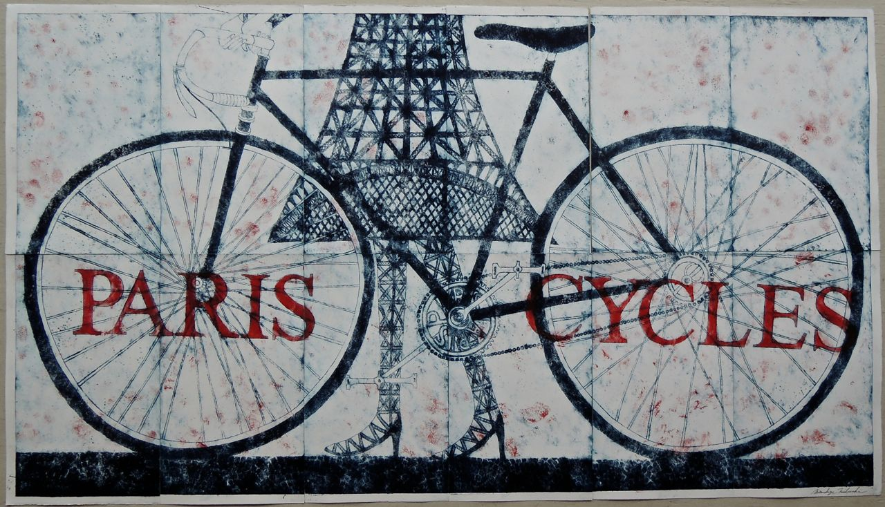 "Artist: Mitsushige Nishiwaki  Name: Paris Cycles  Size: 59.5""x33.75""  Price:  Inquire   Method: etching  Condition: signed print"