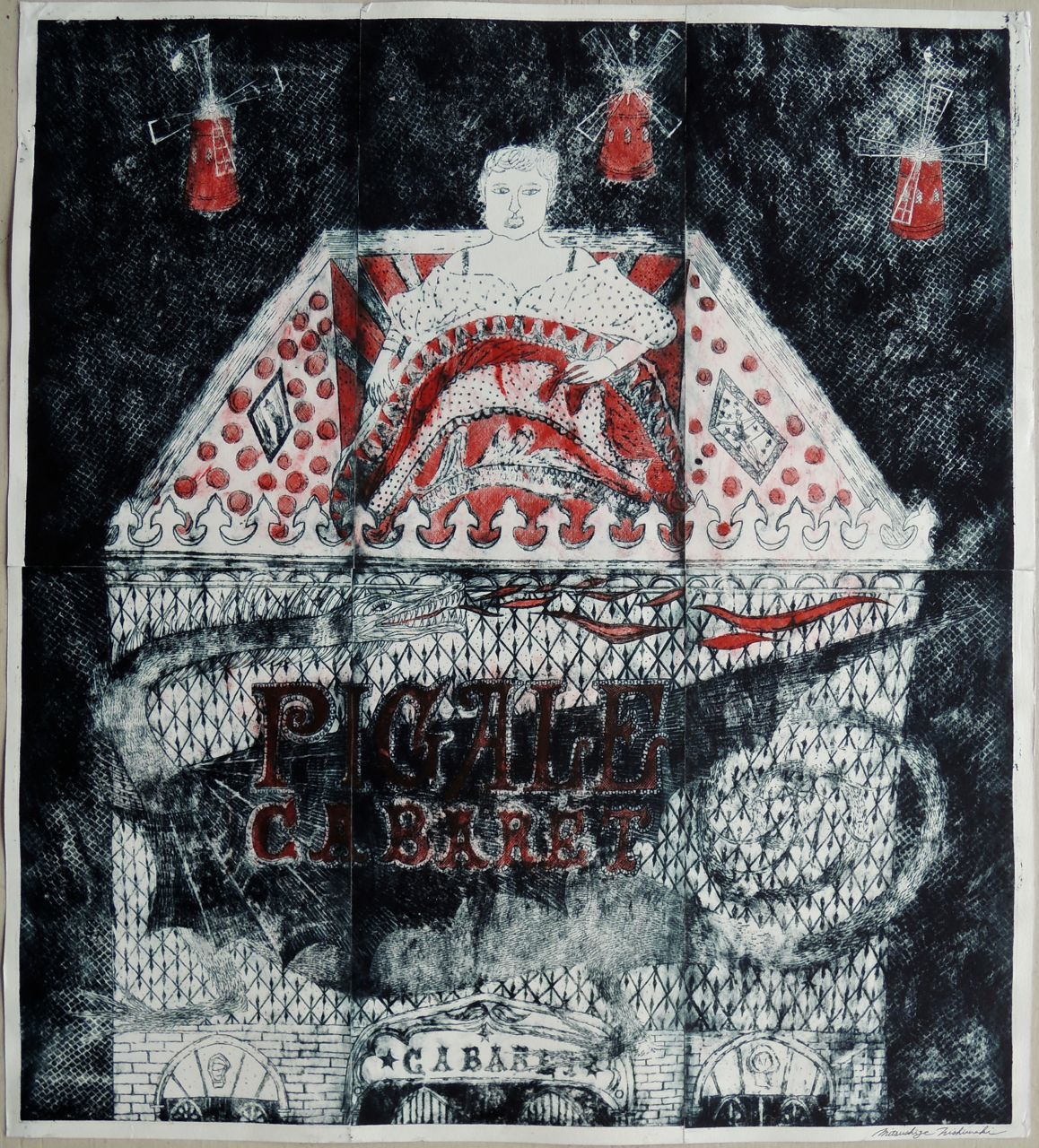 "Artist: Mitsushige Nishiwaki  Name: Pigalle Cabaret  Size: 33.5""x30""  Price:  Inquire   Method: etching  Condition: signed print"
