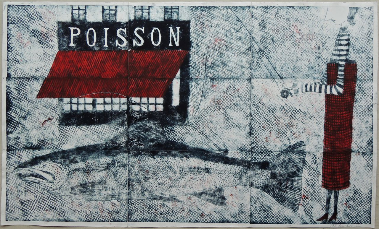 "Artist: Mitsushige Nishiwaki  Name: Poisson Restaurant  Size: 50""x30""  Price:  Inquire   Method: etching  Condition: signed print"