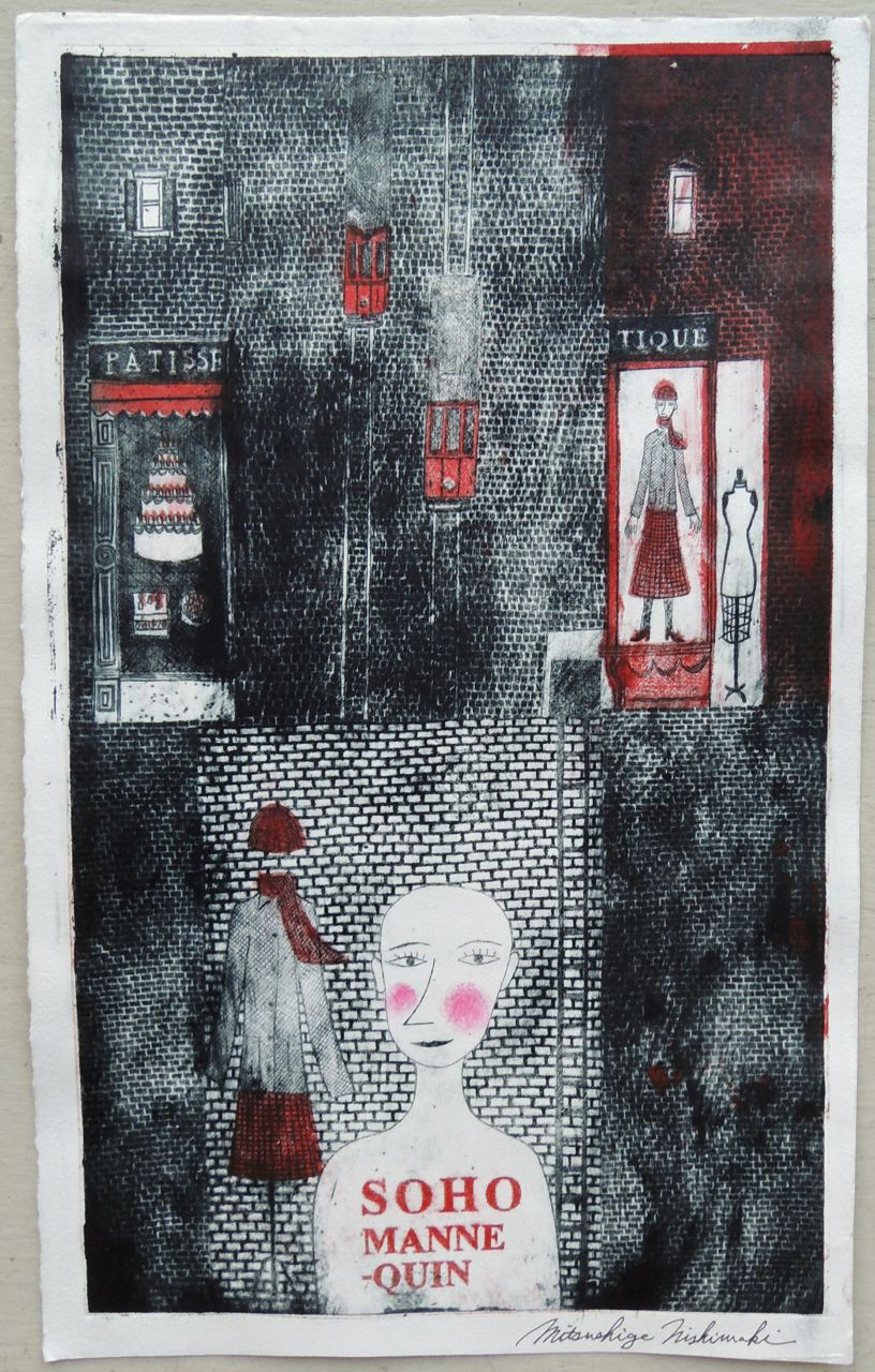 "Artist: Mitsushige Nishiwaki  Name: Soho Mannequin  Size: 17.5""x10.25""  Price:  Inquire   Method: etching  Condition: signed print"