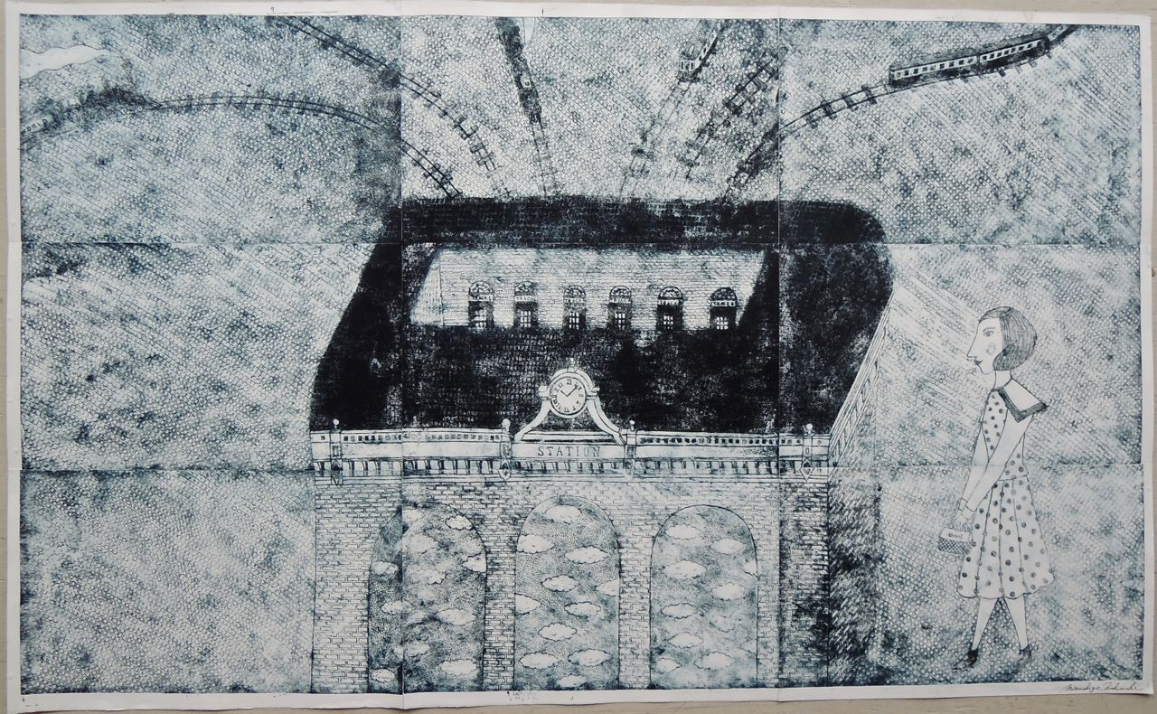 "Artist: Mitsushige Nishiwaki  Name: Station  Size: 50""x30.5""  Price:  Inquire   Method: etching  Condition: signed print"