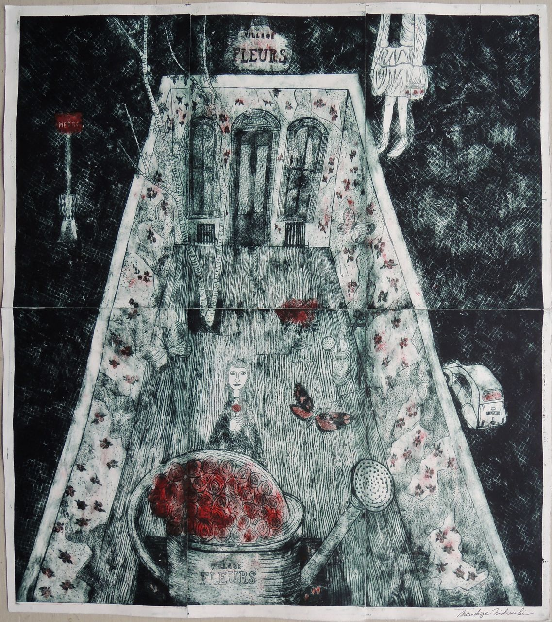 "Artist: Mitsushige Nishiwaki  Name: Village Fleurs  Size: 33.75""x30""  Price:  Inquire   Method: etching  Condition: signed print"
