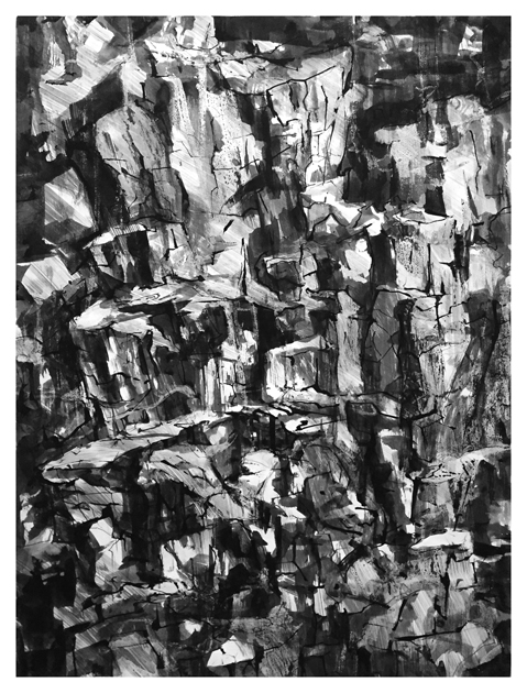 "Artist: Scott Tulay  Name: Outcrop  Year: 2016  Size: 22"" wide x 30"" high  Method: pen and ink  Condition: original"