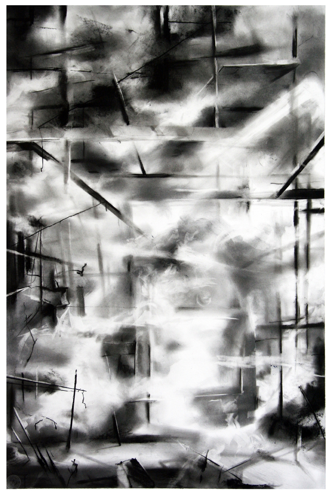 "Artist: Scott Tulay  Name: Steamed  Year: 2014  Size: 20"" wide 30"" high  Method: charcoal and graphite  Condition: original"