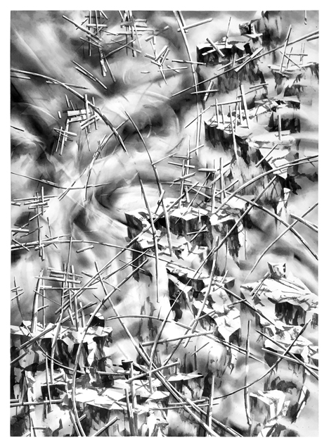 "Artist: Scott Tulay  Name: Whip  Year: 2015  Size: 30"" wide x 40"" high  Method: ink, graphite and charcoal  Condition: original"