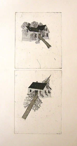"""Artist: Mollie Goldstrom  Title: Intrusions, from The Woods series  Method: Etching, aquatint, sugarlift,drypoint  Size: 22 1/2"""" x 30"""""""