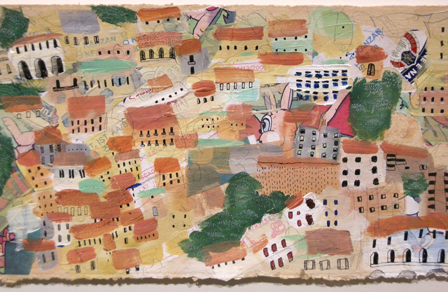 """Artist: Mollie Goldstrom  Title: Sorrento Rooftops  Method: Acrylic, pencil, India Ink, collage on tea-tinted rag paper  Size: 4 1/2"""" x 10 1/2"""""""