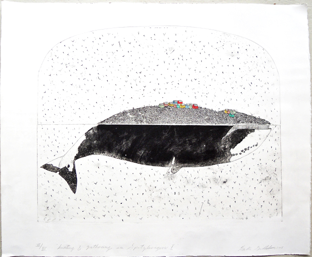 """Artist: Mollie Goldstrom  Title: Hunting and Gathering in Spitzbergen I  Method: Etching, aquatint, hand-coloring  Size: 30"""" x 36"""""""