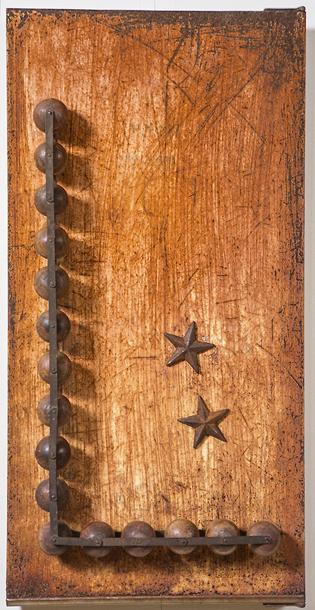"""Artist: John Sideli  Name: Rusty Stars on a Rusty Field  Dimensions: 29 1/2"""" x 15"""" x 2"""""""