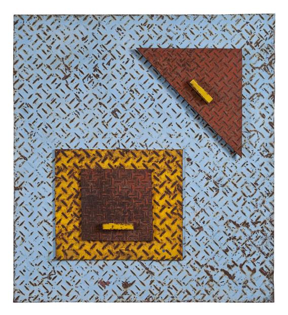 "Artist: John Sideli  Name: Blue Square, Red Triangle  Dimensions: 28"" x 23"" x 3"""