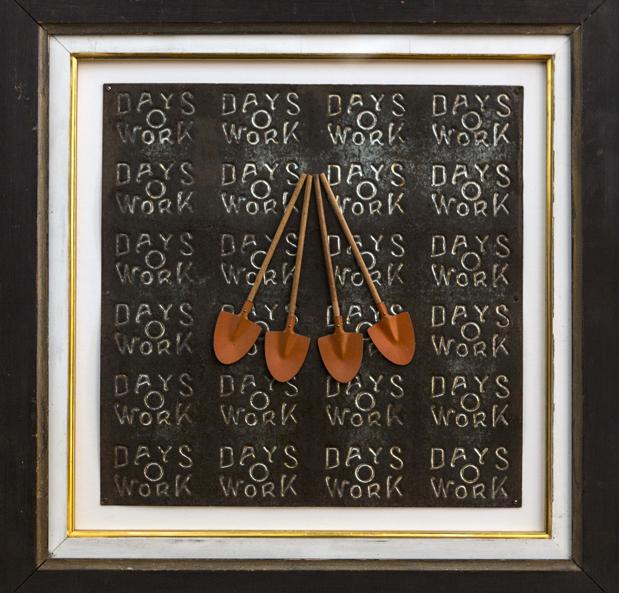 "Artist: John Sideli  Name: Day's Work  Dimensions: 19 1/2"" x 19 1/2"" x 1 1/2"""