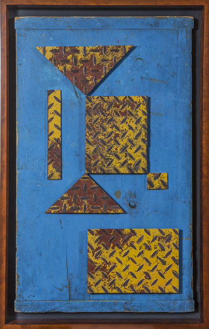 "Artist: John Sideli  Name: Red & Yellow 0n Vivid Blue  Dimensions: 39 1/2"" x 25"" x 2 1/2"""