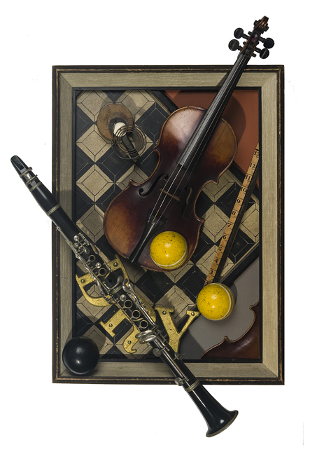 "Artist: John Sideli  Name: Composition With Violin & Clarinet  Dimensions: 32"" x 18"" x 5"""