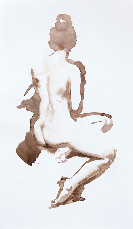 "Artist: Wendy Artin  Title: Taylor Sitting from Behind  Date: 2016  Size: 6"" x 10""  Method: Watercolor  Price:  Inquire"