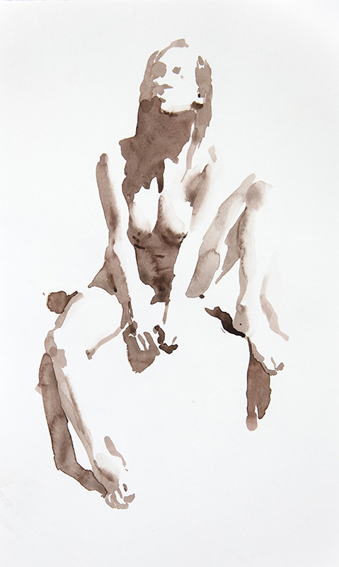 "Artist: Wendy Artin  Title: Seated Model Head Up  Date: 2016  Size: 7"" x 12""  Method: Watercolor  Price:  Inquire"
