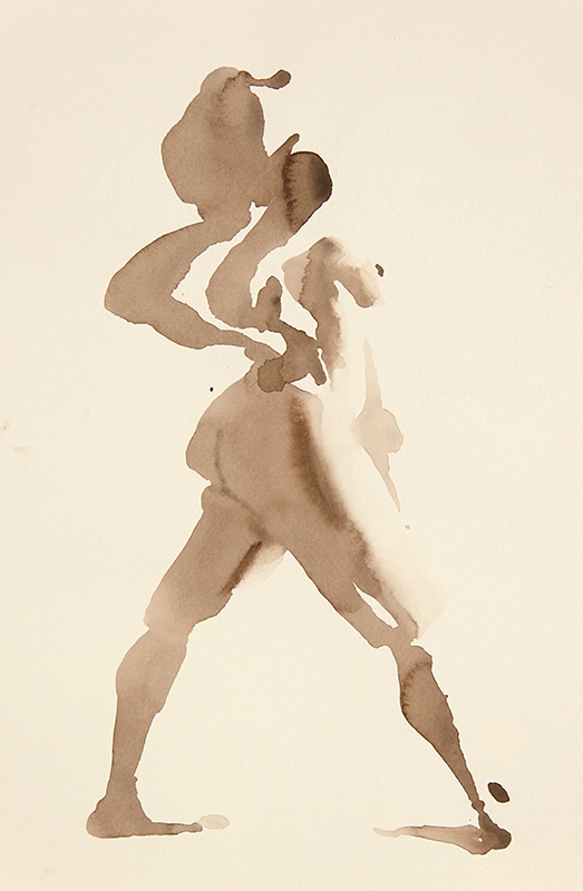 "Artist: Wendy Artin  Title: Model Head Throw Back  Date: 2017  Size: 10"" x 13""  Method: Watercolor  Price:  Inquire"