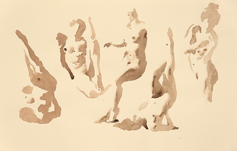 "Artist: Wendy Artin  Title: Thea Five Times  Date: 2017  Size: 13"" x 20""  Method: Watercolor  Price:  Inquire"