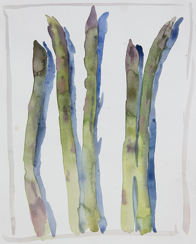 "Artist: Wendy Artin  Title: 5 Quick Asparagus  Date: 2017  Size: 8"" x 9""  Method: Watercolor  Price:  Inquire"