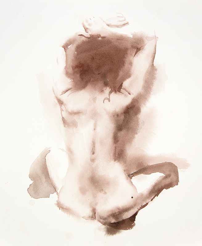 "Artist: Wendy Artin  Title: Taylor Sitting Back Arms Up  Date: 2017  Size: 9 5/8"" x 11 5/8""  Method: Watercolor  Price:  Inquire"