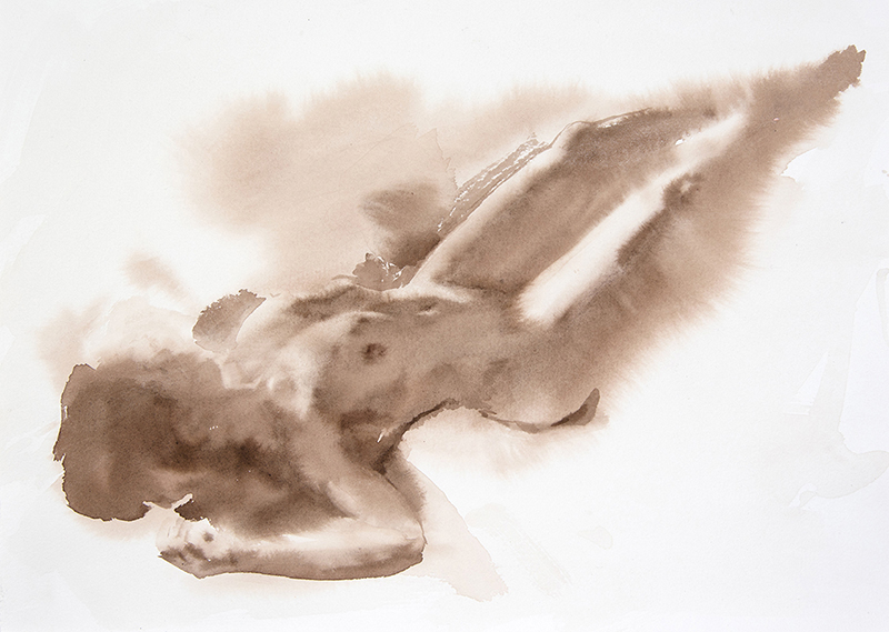 "Artist: Wendy Artin  Title: Taylor Reclining Legs Up  Date: 2017  Size: 15"" x 11""  Method: Watercolor  Price:  Inquire"