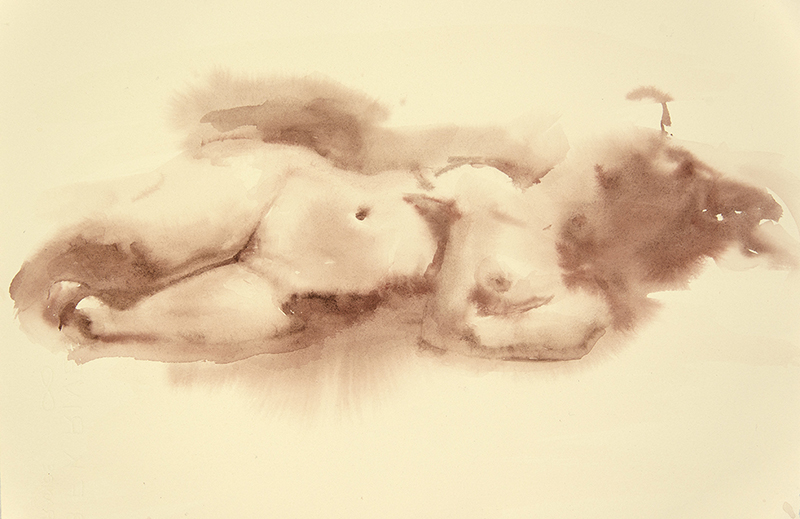 "Artist: Wendy Artin  Title: Reclining Nude  Date: 2017  Size: 4 3/4"" x 6""  Method: Watercolor  Price:  Inquire"