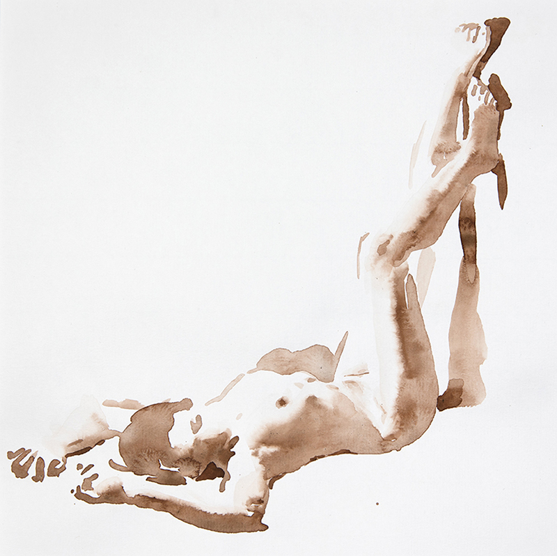 "Artist: Wendy Artin  Title: Giulia Legs Up  Date: 2017  Size: 11"" x 11""  Method: Watercolor  Price:  Inquire"