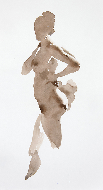 "Artist: Wendy Artin  Title: Taylor Standing  Date: 2017  Size: 2 3/4"" x 5 1/6""  Method: Watercolor  Price:  Inquire"