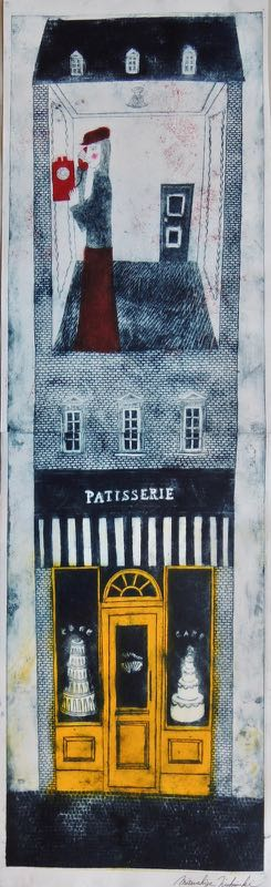 "Artist: Mitsushige Nishiwaki  Name: Patisserie with Upstairs Neighbor  Size: 34""x10.25""  Price:  Inquire   Method: etching  Condition: signed print"