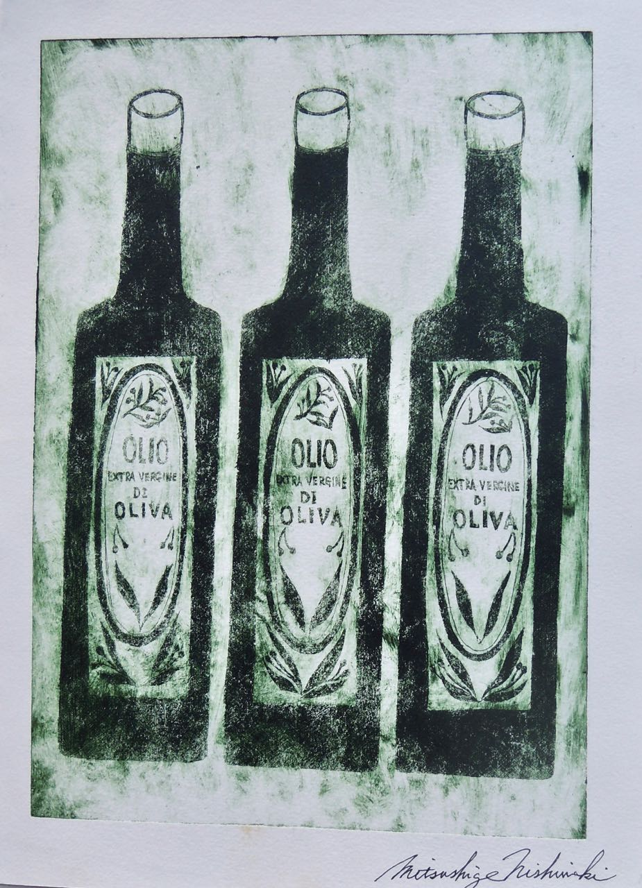 "Artist: Mitsushige Nishiwaki  Name: Olio  Size: 9.75""x13.5""  Price:  Inquire   Method: etching  Condition: signed print"