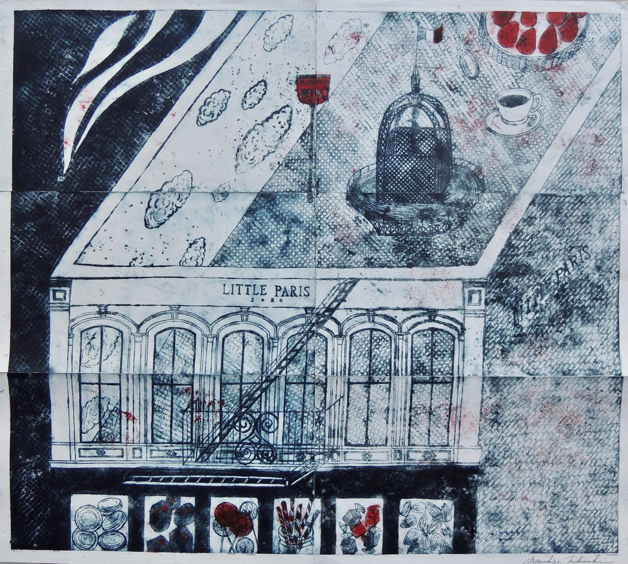 "Artist: Mitsushige Nishiwaki  Name: Little Paris Rooftop  Size: 30.33""x34.12""  Price:  Inquire   Method: etching  Condition: signed print"