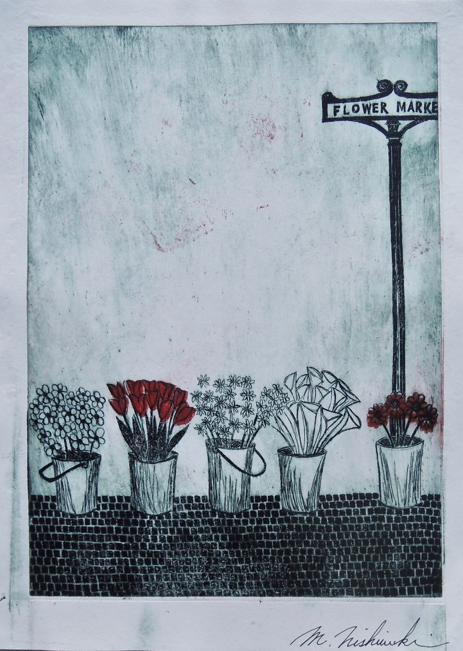 "Artist: Mitsushige Nishiwaki  Name: Flower Market  Size: 9.5""x13""  Price:  Inquire   Method: etching  Condition: signed print"