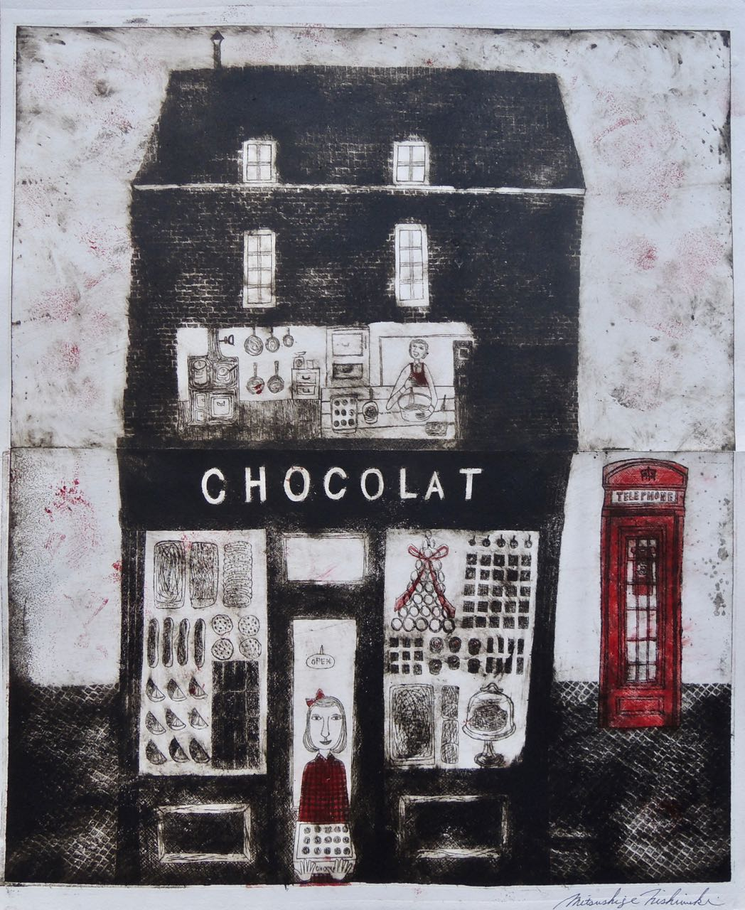 "Artist: Mitsushige Nishiwaki  Name: Chocolat  Size: 17""x21.75""  Price:  Inquire   Method: etching  Condition: signed print"