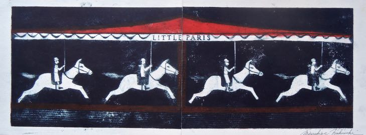 "Artist: Mitsushige Nishiwaki  Name: Carousel  Size: 26""x9.25""  Price:  Inquire   Method: etching  Condition: signed print"